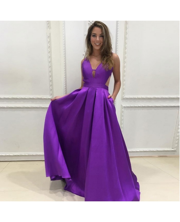 ef2d5b8908a2 Cut-out Plunging V-neck Sexy Prom Dress