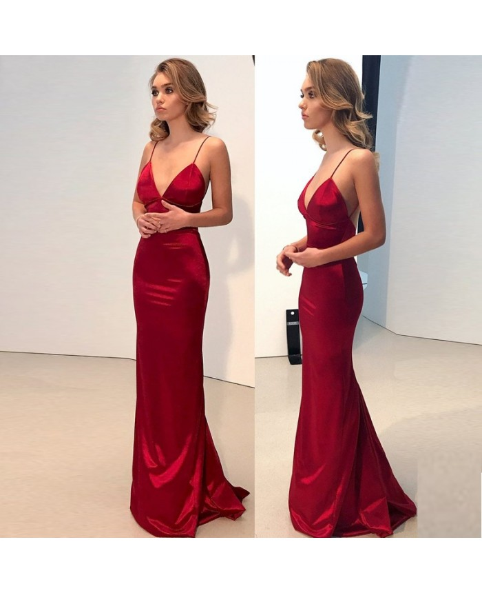 Sexy Open Back Red Prom Dresses 2014