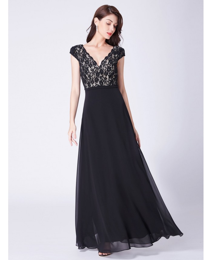 9cc93928652 Cap Sleeves Black Long Evening Dress with Lace Bodice