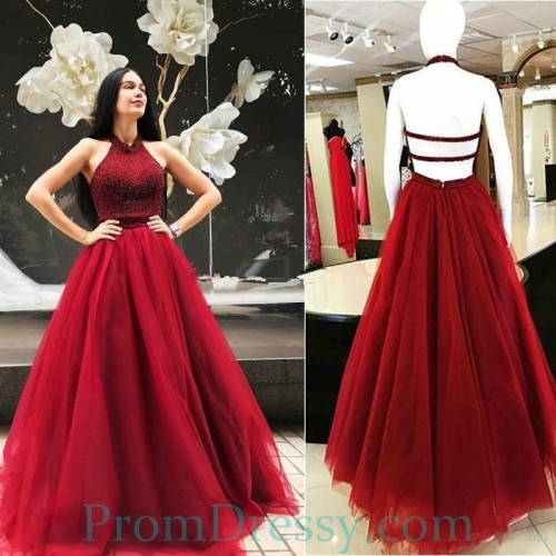 fd8e4de018037 A Line Tulle Beaded Halter Burgundy Prom Evening Dresses With Open Back