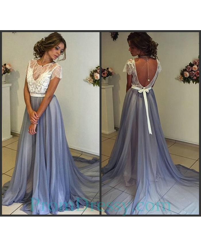0489c92418a9 Chiffon Illusion Neckline Chiffon White And Grey Two Piece Prom Evening  Dresses With Low Back