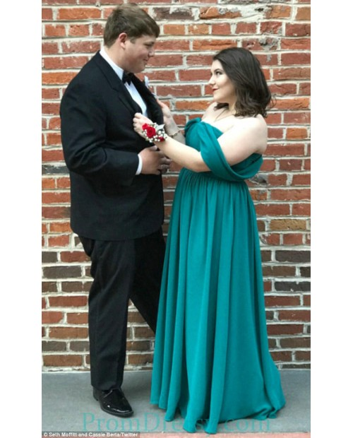 Floor Length Chiffon Off The Shoulder Emerald Plus Size Prom ...