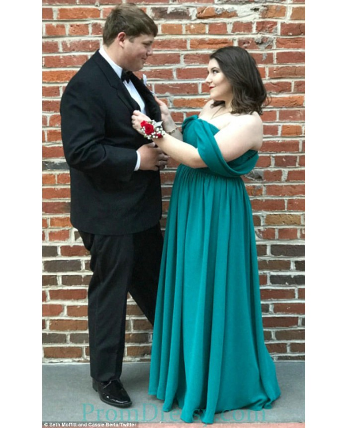 Floor Length Chiffon Off The Shoulder Emerald Plus Size Prom Dresses Under  100