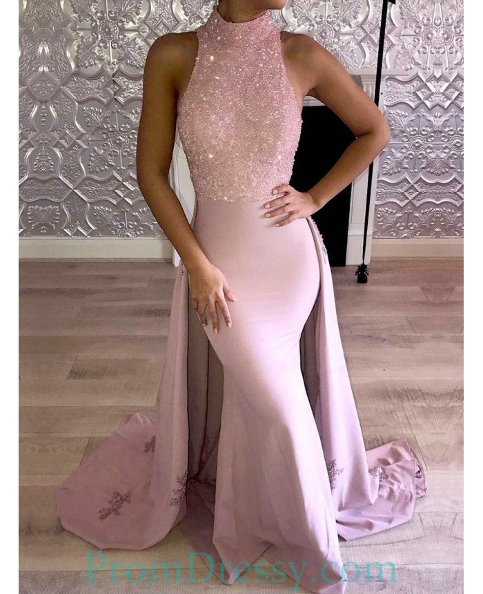 Detachable Trains Knee High: High Neck Beaded Satin Dusty Pink Halter Prom Evening Gown