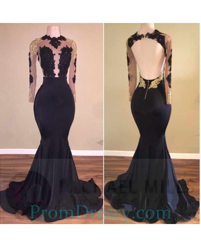 6bf658a6b6a High Neck Open Back Illusion Bodice Long Sleeves Black And Gold Prom Dresses