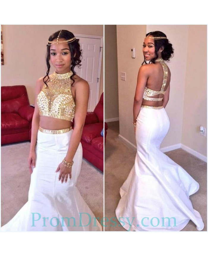 28dd8a7e62a Halter Open Back Mermaid Sexy White And Gold Prom Dress Two Piece