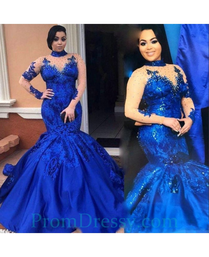 Lace Appliqued Beaded Long Sleeves Royal Bue Mermaid High ...