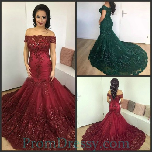 2a5e5c1e Lace Appliqued Off The Shoulder Mermaid Burgundy Evening Prom Dresses  Corset Formal Gowns