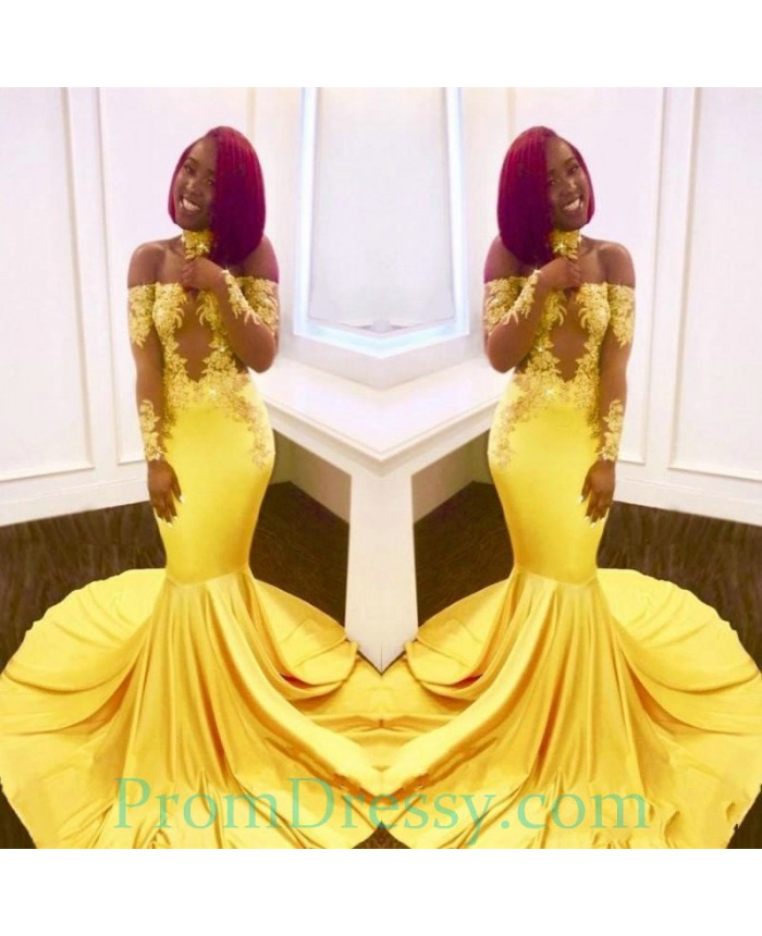 c32db6f697e4 Off The Shoulder Long Sleeves Bright Yellow Mermaid Evening Dress Black  Girl Prom Dresses