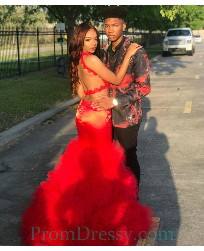 Satin Tulle Backless Red Mermaid Prom