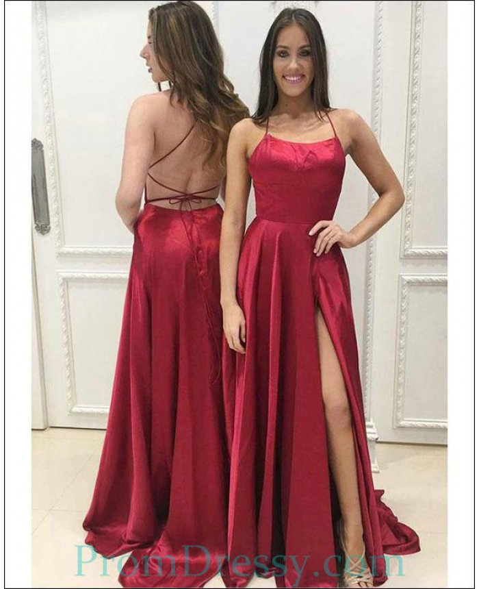 5a033e8fafe Sexy Spaghetti Straps Red Prom Dresses 2018 Split Side Long Party Gowns  Criss Cross Backless Evening Dress