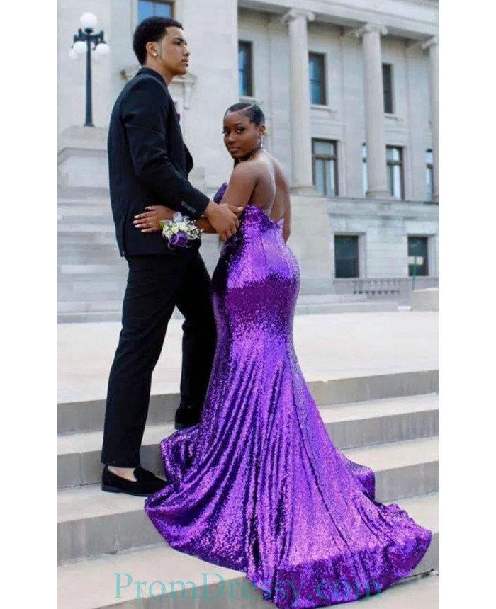 Strapless Sequin Plus Size Evening Dresses Purple Prom Dresses Instagram