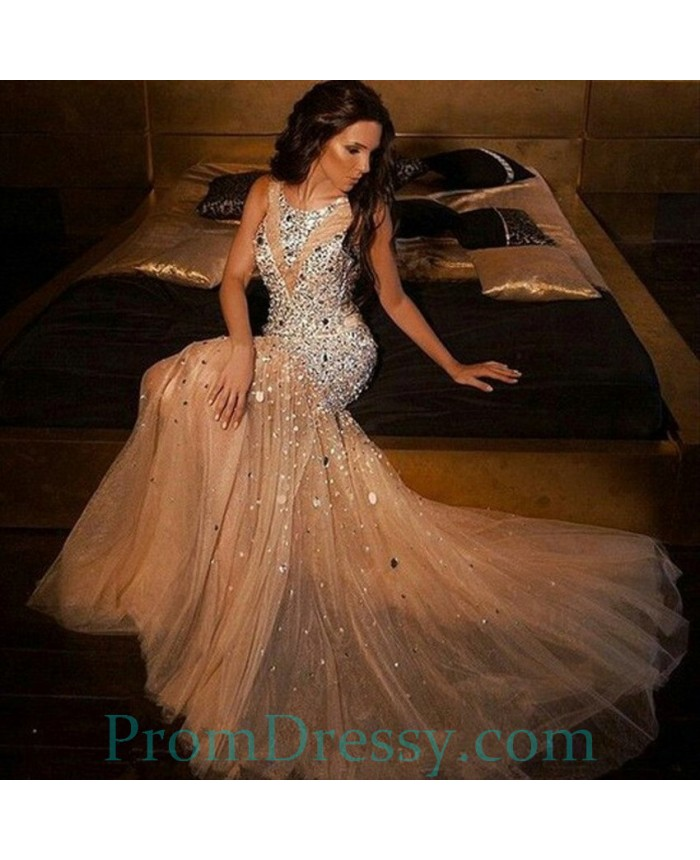 Tulle Jewel Neck Gold Mermaid Prom Dress With Silver Stones Major Beaded Evening Gown