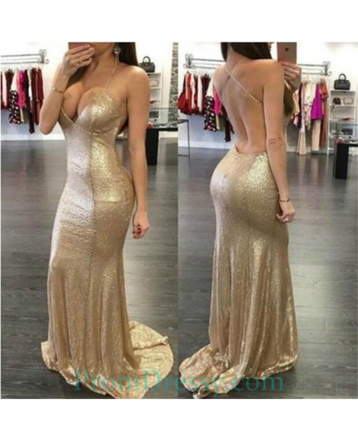 32197098f1d Criss Cross Back Sequin Prom Dresses Khaki Sexy Backless Mermaid Evening  Gown