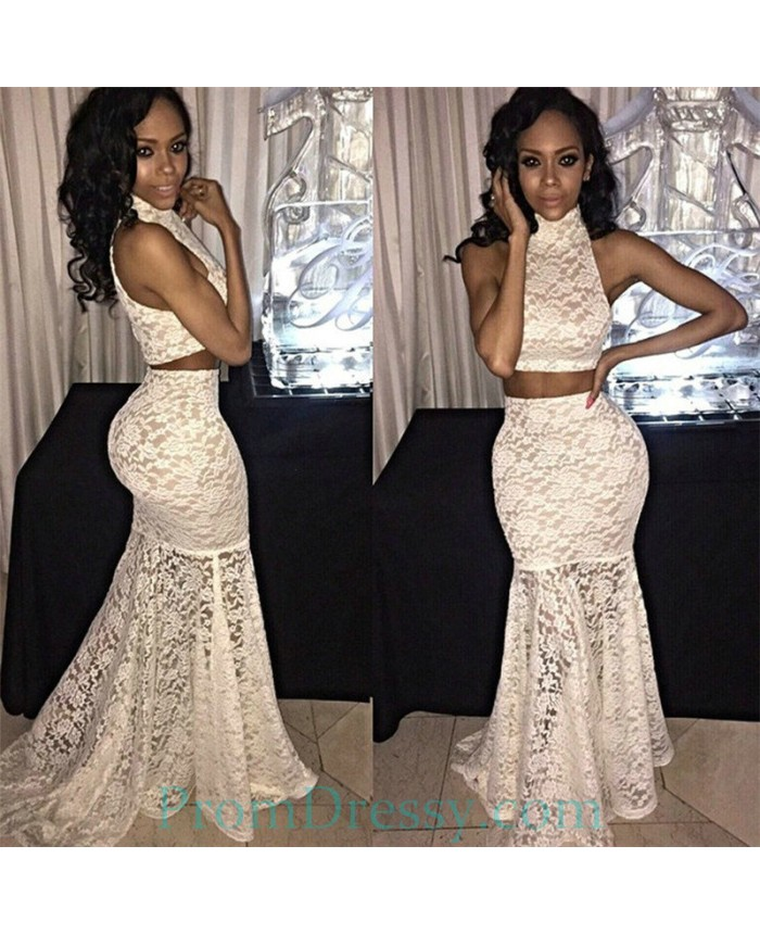 High Neck Mermaid Sexy Two Piece Lace Prom Dresses Black Girl