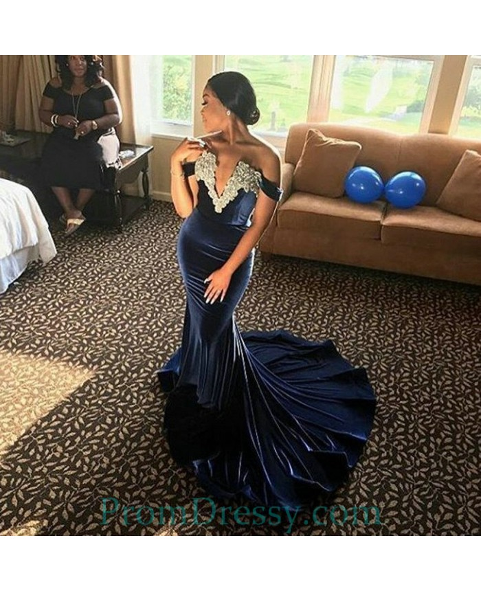 7921844554 Lace Appliqued Off The Shoulder Mermaid Navy Blue Prom Dresses 2018 Velvet  Evening Gown