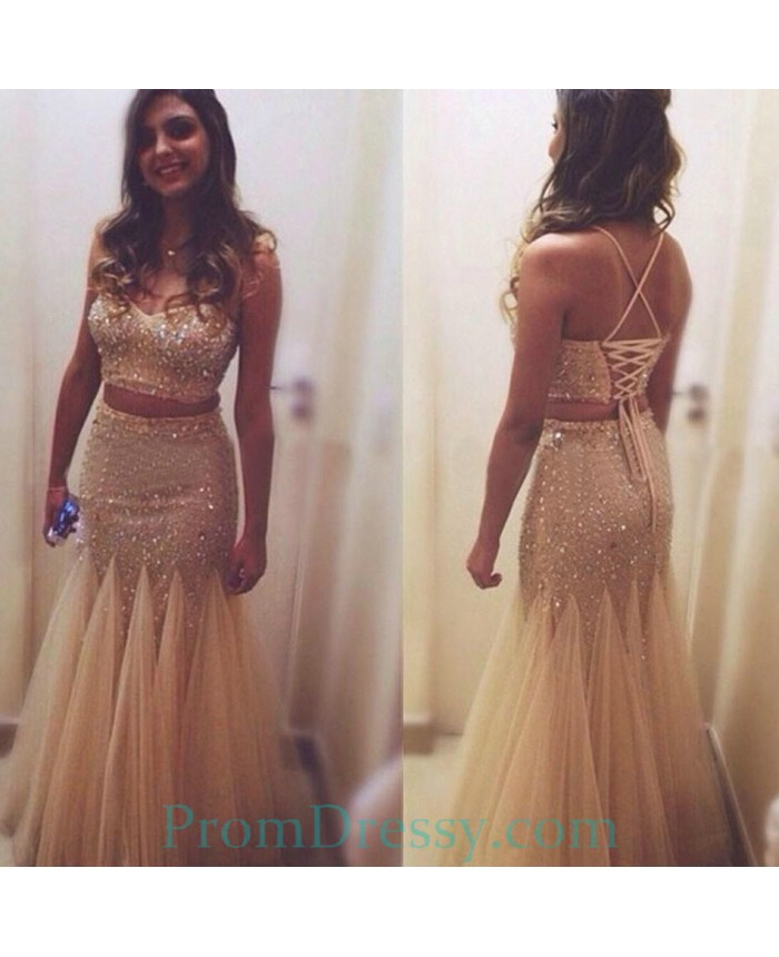 c6a77ff485 Sweetheart Tulle Major Beaded Sparkly Evening Dress Two Piece Prom Dress  With Criss Cross Back