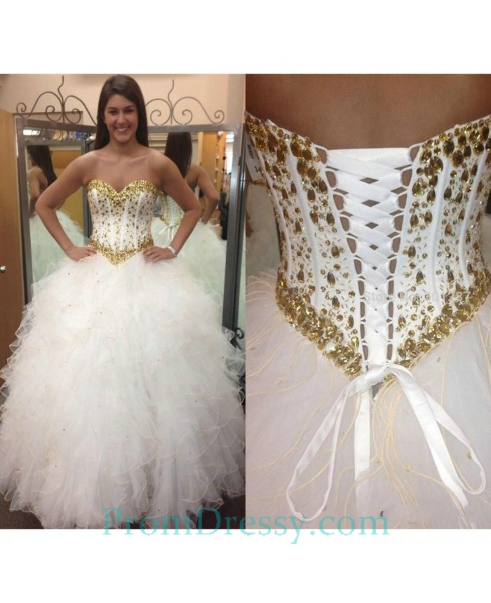 df241211611 Tulle Ruffled Sweetheart Ball Gown White Quinceanera Dresses With Gold  Crystals