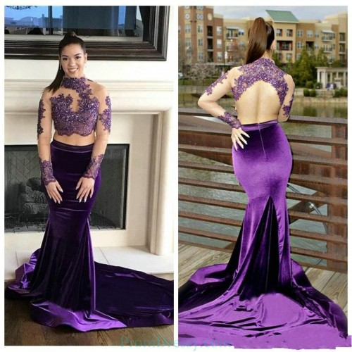 3bde231421 High Neck Lace Appliqued Long Sleeves Open Back Lace Prom dresses Velvet  Mermaid Evening Gown