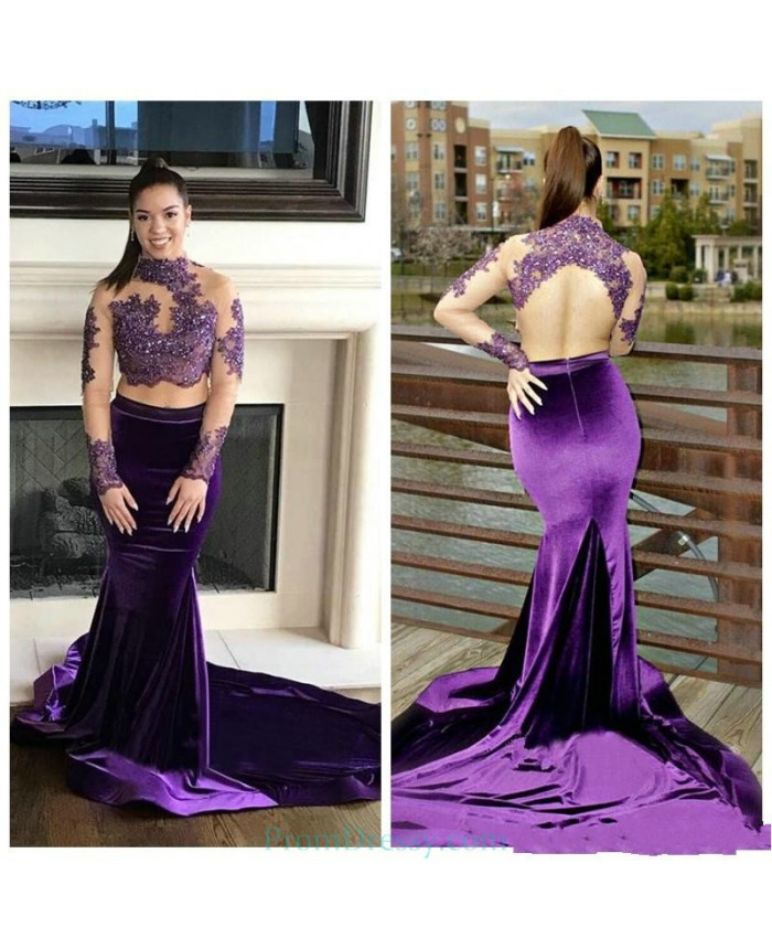 ca24d828d9a7 High Neck Lace Appliqued Long Sleeves Open Back Lace Prom dresses Velvet Mermaid  Evening Gown