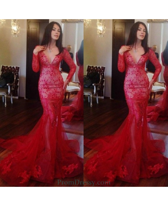 Lace Appliqued Deep V Cut Beaded Long Sleeves Sexy Mermaid Tail Prom
