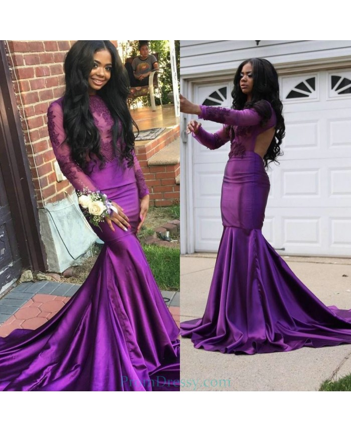 2e4b91847fe7 Satin High Neck Lace Appliqued Bodice Purple Prom Dresses 2019 Mermaid Long  Sleeves Evening Gown