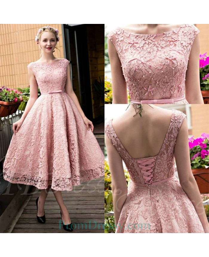 eb317be7073 A Line Tea Length Bateau Lace Up Pink Lace Homecoming Dress Short Prom  Dresses
