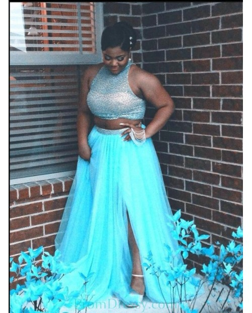 A Line Tulle Beaded Halter Beaded Blue Two Piece Prom ...
