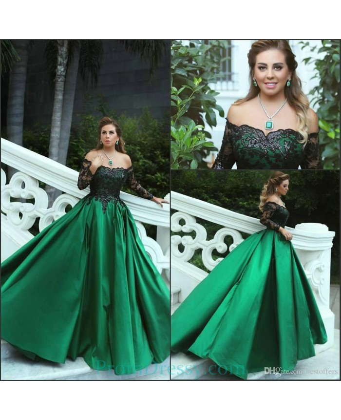 Ball Gown Satin Long Sleeves Black Lace Off The Shoulder Green Prom