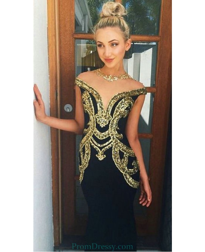 9ceadc8896b1 Chiffon Floor Length Sequin Open Back Mermaid Black And Gold Prom Dresses