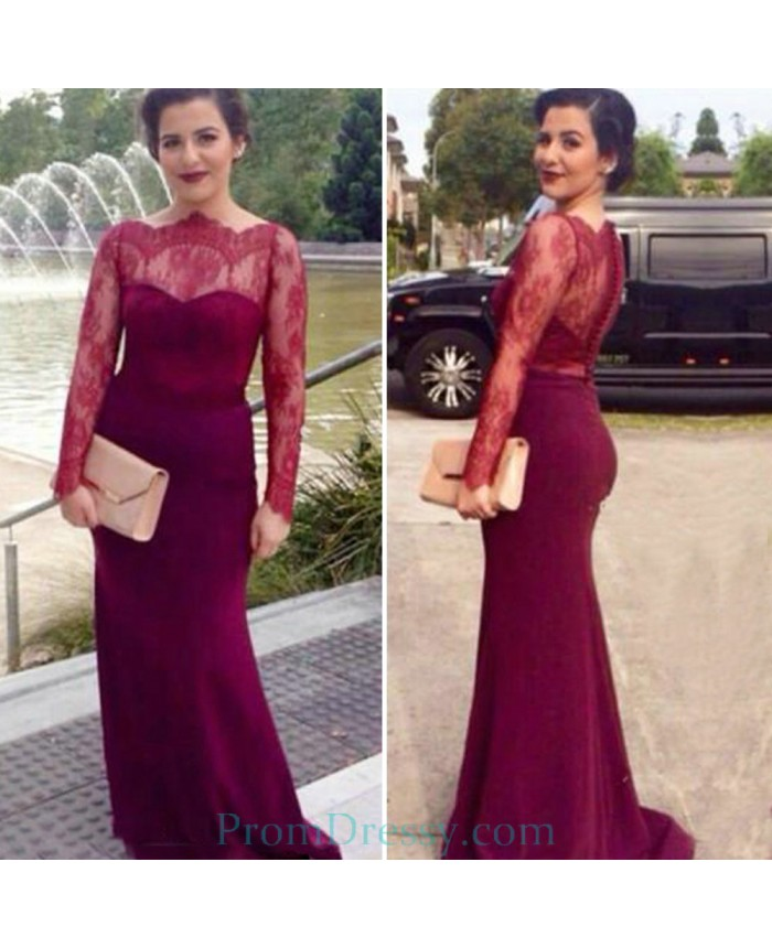 Elegant Burgundy Red Prom Dresses Boat Neck Satin Lace Mermaid Prom ...