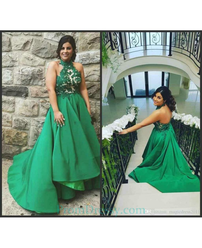 Lace Appliqued Ball Gown High Low Halter Green Plus Size ...
