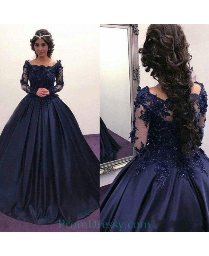 cdc2e08176e33 Lace Appliques Scalloped Portrait Navy Blue Long Sleeves Puffy Prom Dresses  Long Sleeves Evening Gown