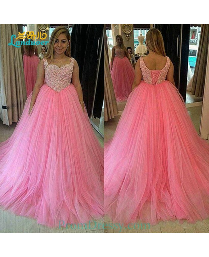 Lovely Pink Ball Gown Prom Dresses 2016