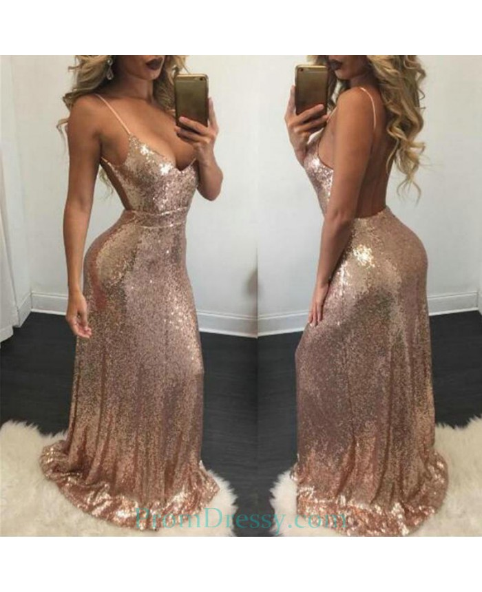 6c5c7929dd Low Cut Spaghetti Rose Gold Evening Dresses Sexy Open Back Prom Gown