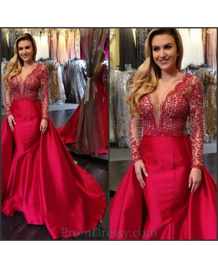 Satin V Plunging Red Long Sleeves Lace Sleeves Ball Gown