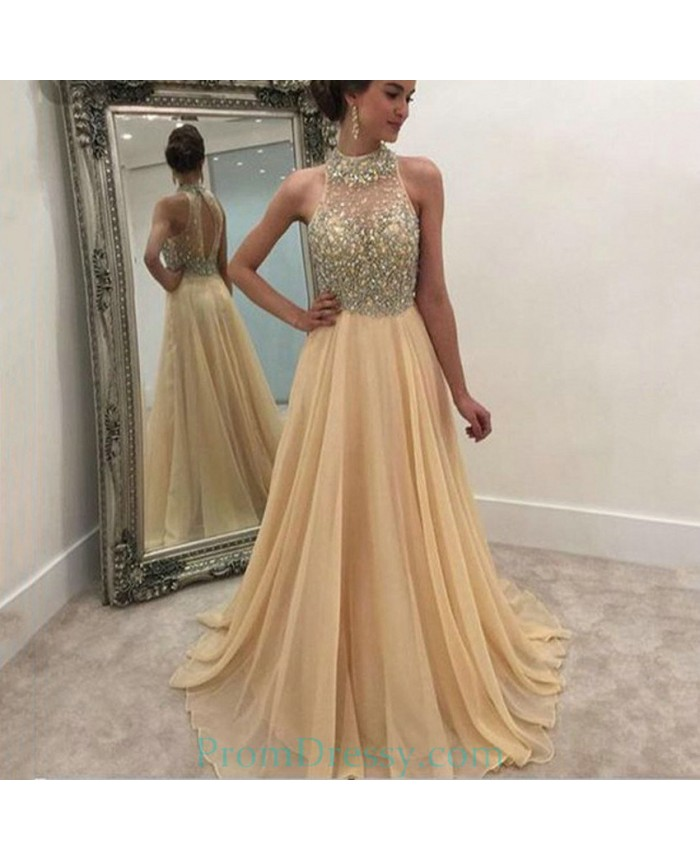 6e491f38f3b Sexy High Neck Formal Women Evening Gowns Custom Made Beading Chiffon Champagne  Long Prom Dresses
