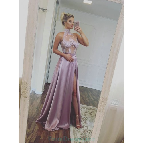 a3b39f66ab9 Sexy Sheer Corset Evening Dress 2017 High Neck Lace Appliques Floor Length Satin  Prom Dresses with