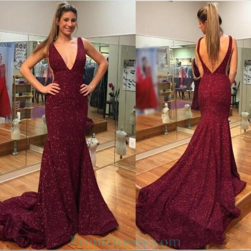 7db07112bd Sweep Train V Neck V Back Low Cut Burgundy Evening Dresses Sexy Sequin prom  Gown
