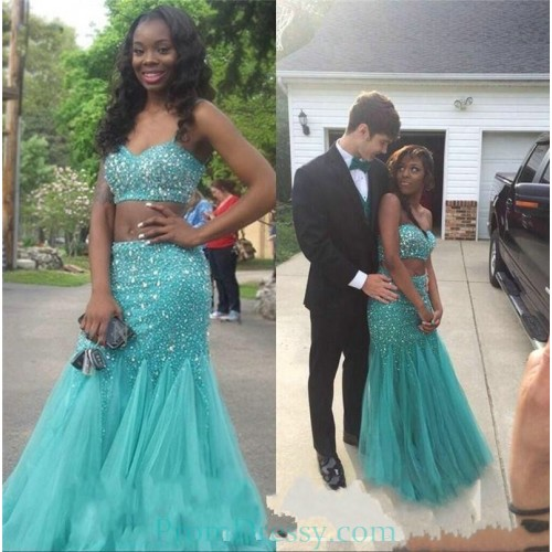 18755966e39b1 Sweetheart Tulle Beaded Blue 2 Piece Prom Dresses Plus Size Evening Gown