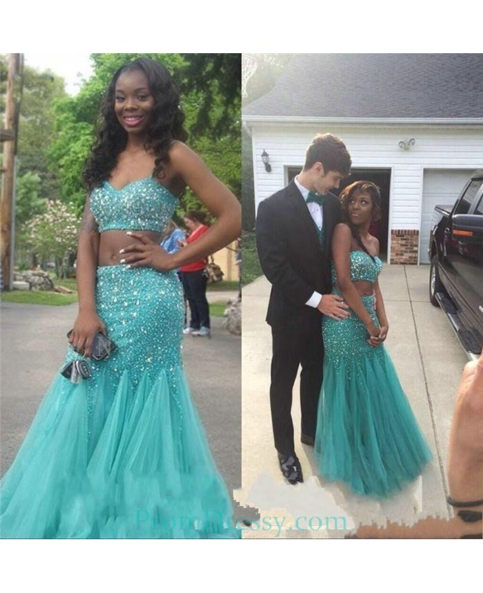 8539191208f Sweetheart Tulle Beaded Blue 2 Piece Prom Dresses Plus Size Evening Gown