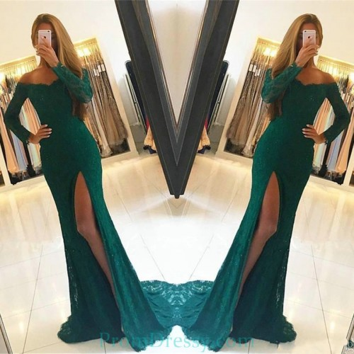 3cc51f0b7298 Thigh High Split Off The Shoulder Emerald Green Lace Evening Prom Dresses  With Long Sleeves
