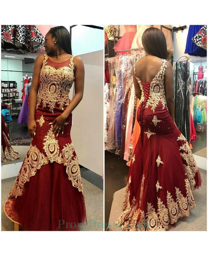 Tulle High Neck Burgundy Mermaid Evening Dresses With Gold Appliques