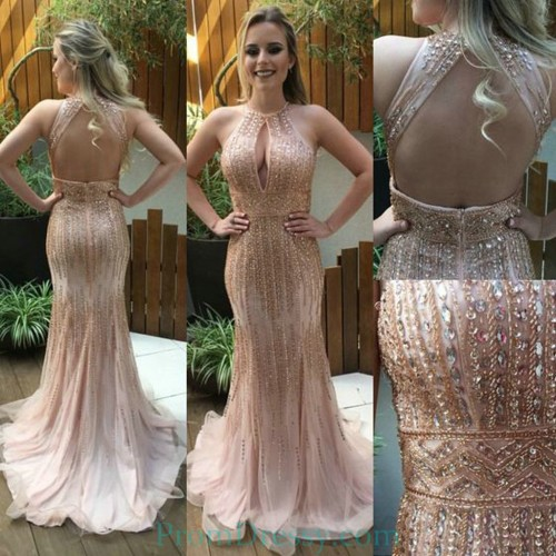 6eb26b94887 Tulle Sequin Beaded Open Back Nude Pink Evening Prom Dresses Major Beading  Night Dress With Front