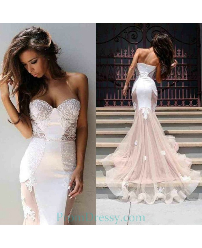 Chiffon Lace Cut Out White And Nude Gorgeous Evening Dress