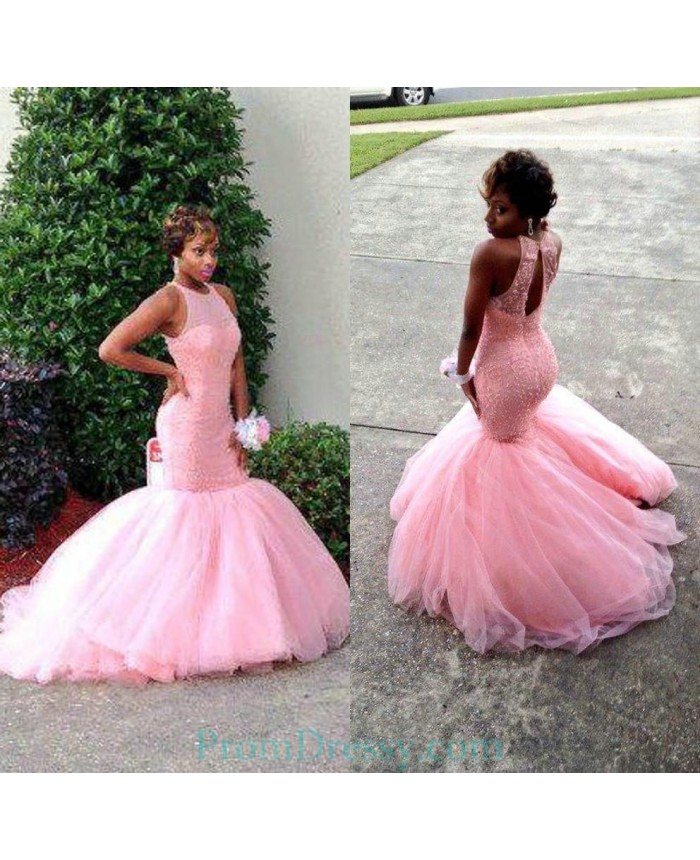 6c5106f3a08 Sheer Neckline Beaded Tulle Pink Mermaid Evening Prom Dresses Black Girls