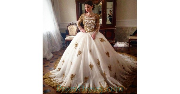 Sparkly Ball Gown Wedding Dresses: Jeweel Neck White Ball Gown Evening Dresses With Gold Lace