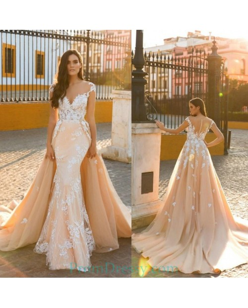 Two In One Wedding Gowns: Sheer Jewel Neckline Lace Appliqued Champagne Mermaid