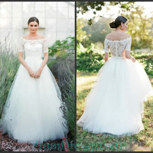 04a38eeac2e3 Tulle Off The Shoulder Ball Gown Country Wedding Dress Lace Sleeves