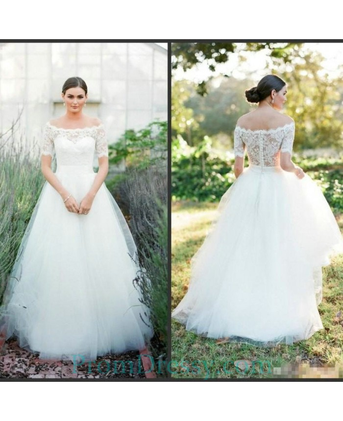 Tulle Off The Shoulder Ball Gown Country Wedding Dress Lace Sleeves